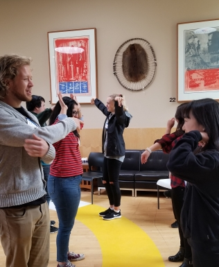 Participants play a game involving mirroring the actions of their partner.